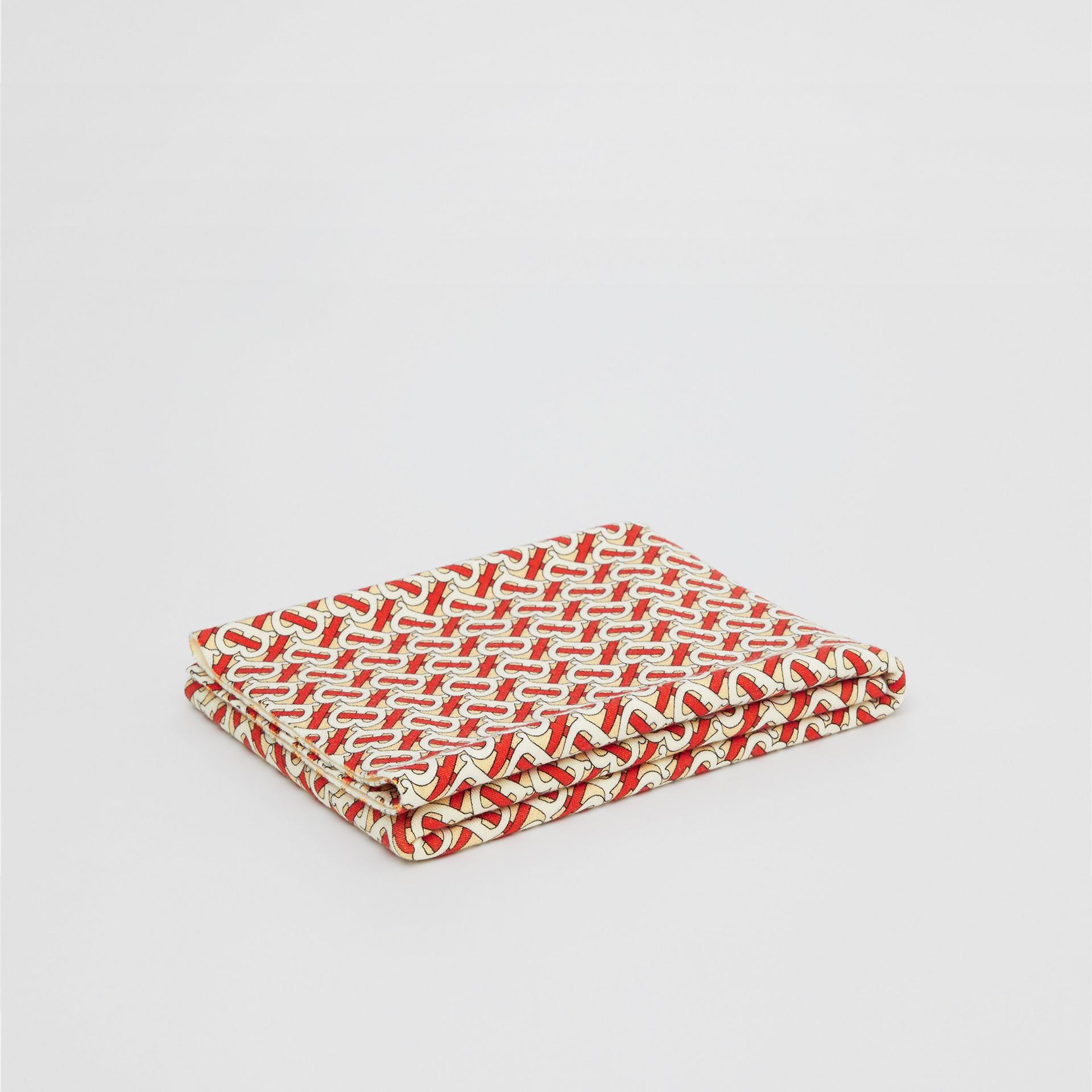 Monogram Print Merino Wool Baby Blanket in Vermilion Red - Children | Burberry United Kingdom - gallery image 0