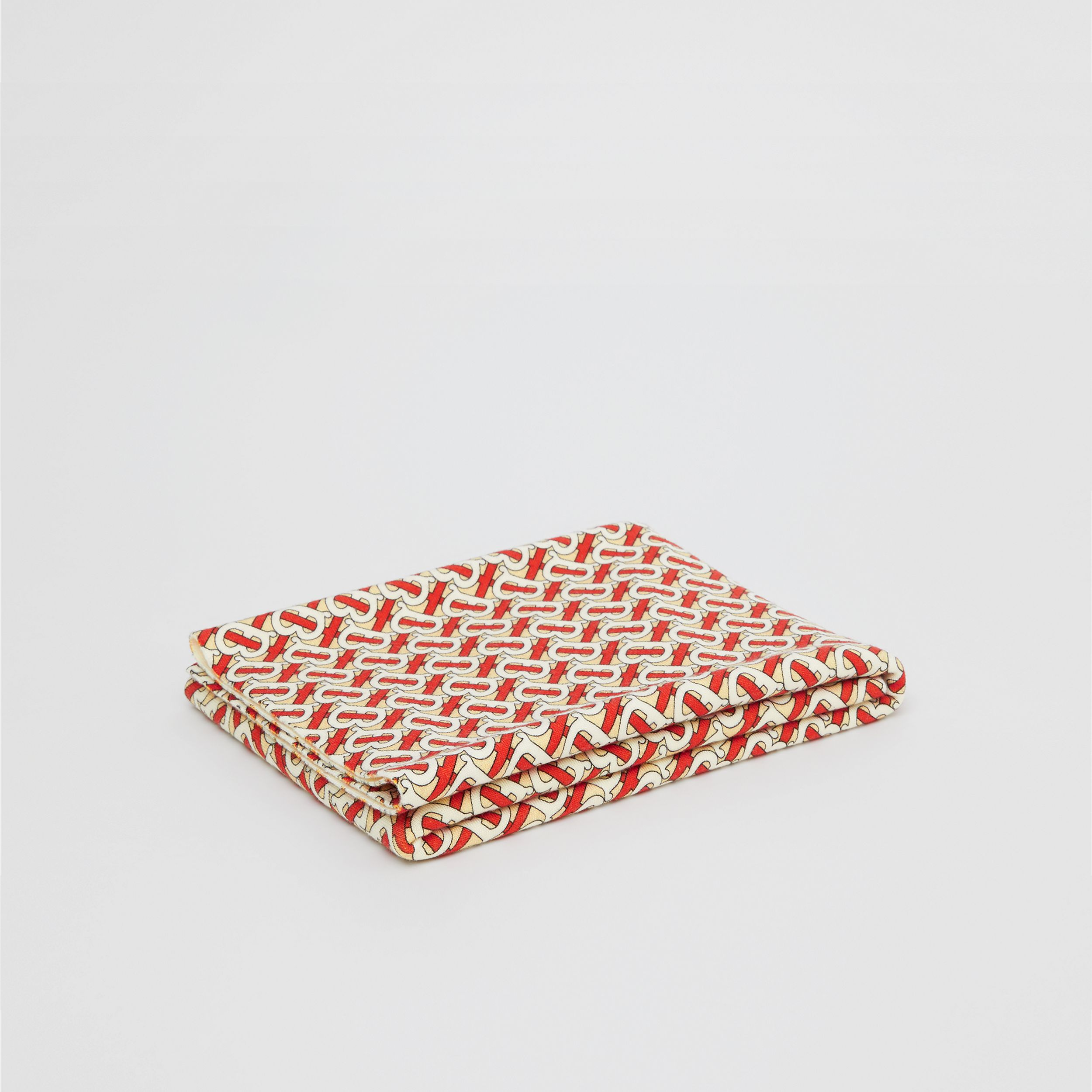 Monogram Print Merino Wool Baby Blanket in Vermilion Red - Children | Burberry - 1