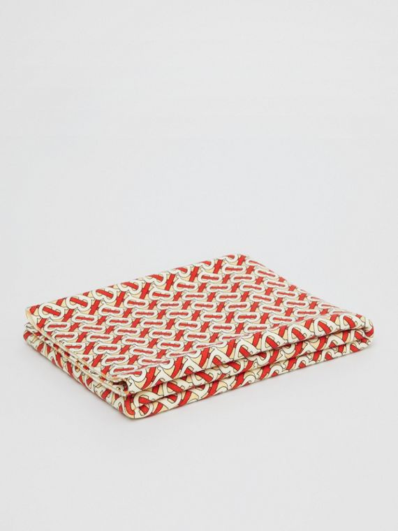 Monogram Print Merino Wool Baby Blanket in Vermilion Red