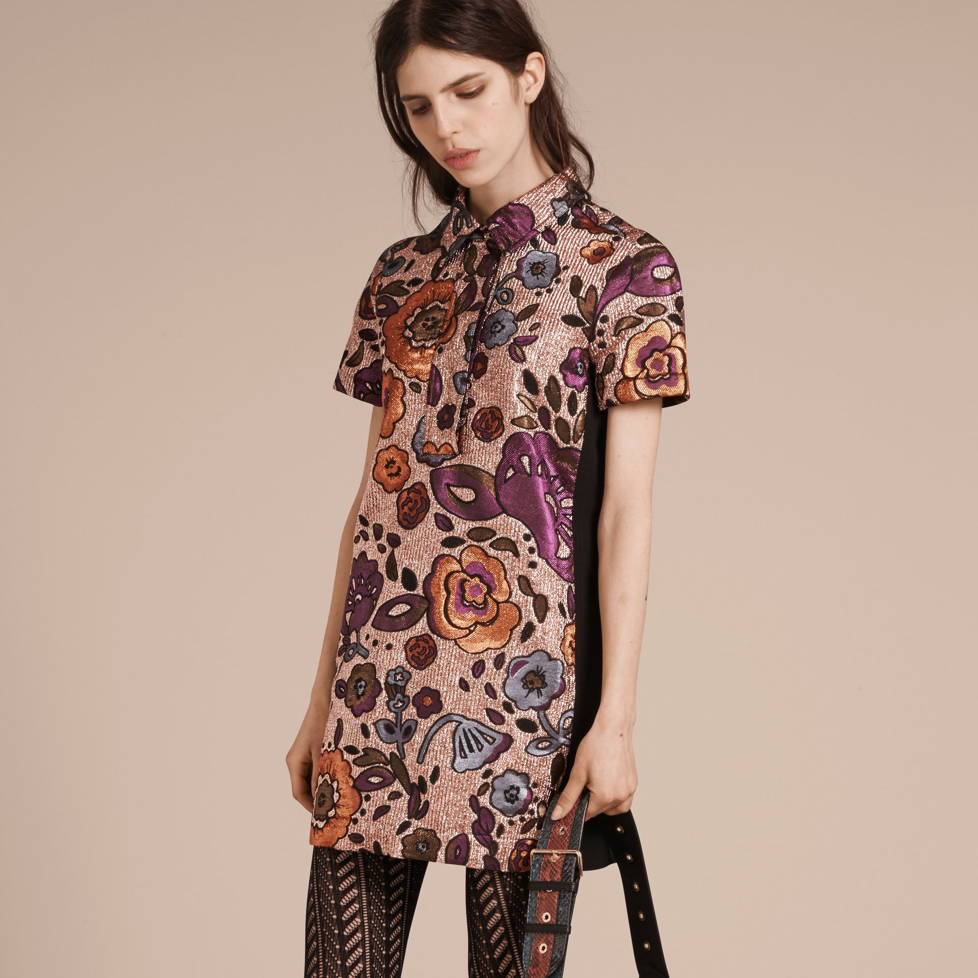 Copper rose Lamé and Floral Jacquard Shirt Dress - gallery image 7