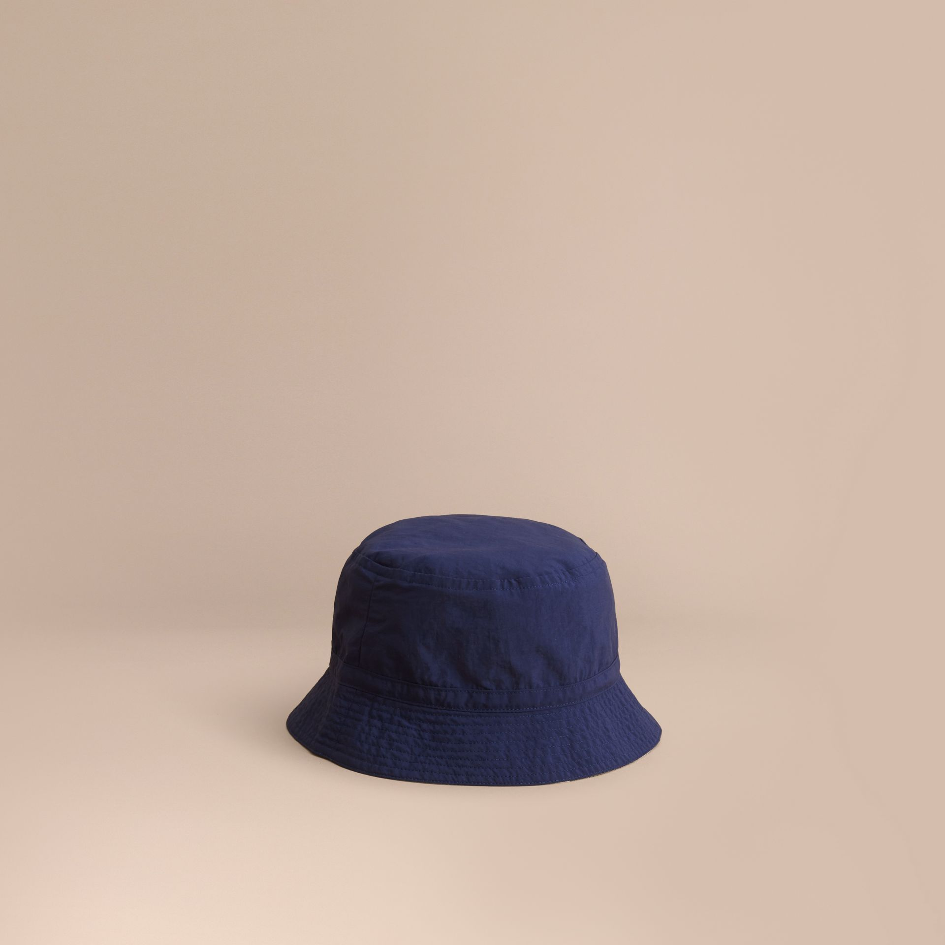 Check Detail Bucket Hat in Indigo | Burberry United States - gallery image 0