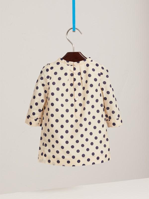 Vestitino svasato in cotone e seta con stampa a pois (Bianco Naturale) | Burberry - cell image 3
