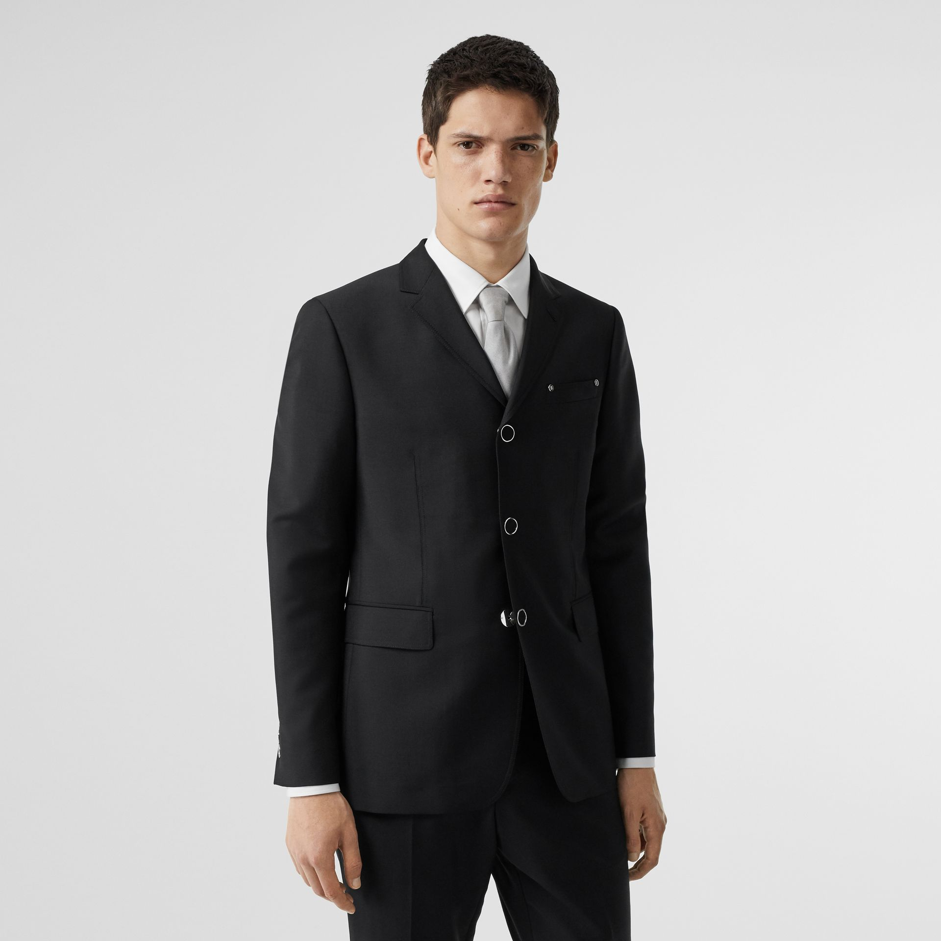 Slim Fit Press-stud Wool Mohair Tailored Jacket in Black - Men | Burberry - gallery image 5