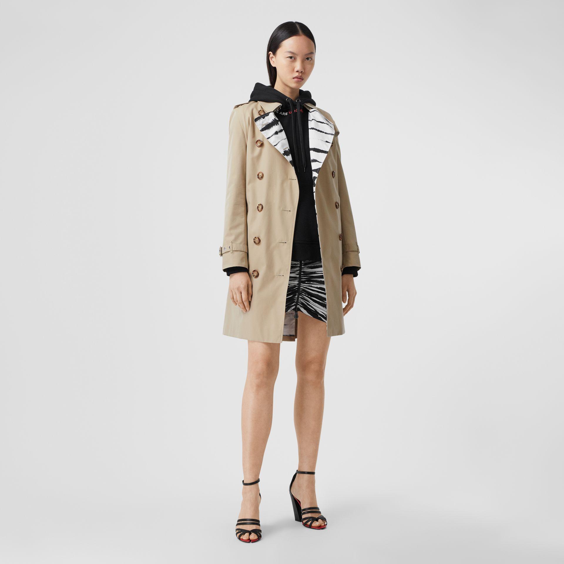 Watercolour Print-lined Cotton Gabardine Trench Coat in Honey - Women | Burberry - gallery image 0
