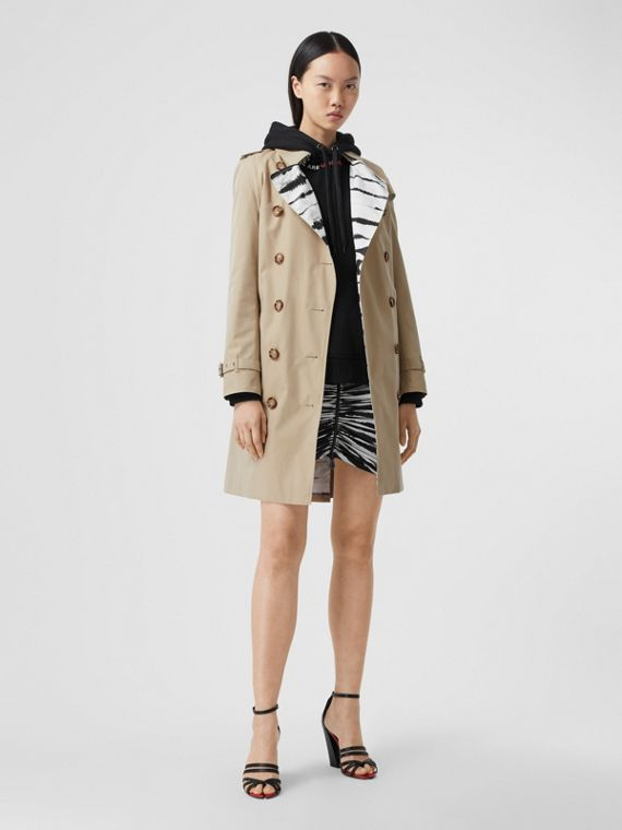 Watercolour Print-lined Cotton Gabardine Trench Coat in Honey