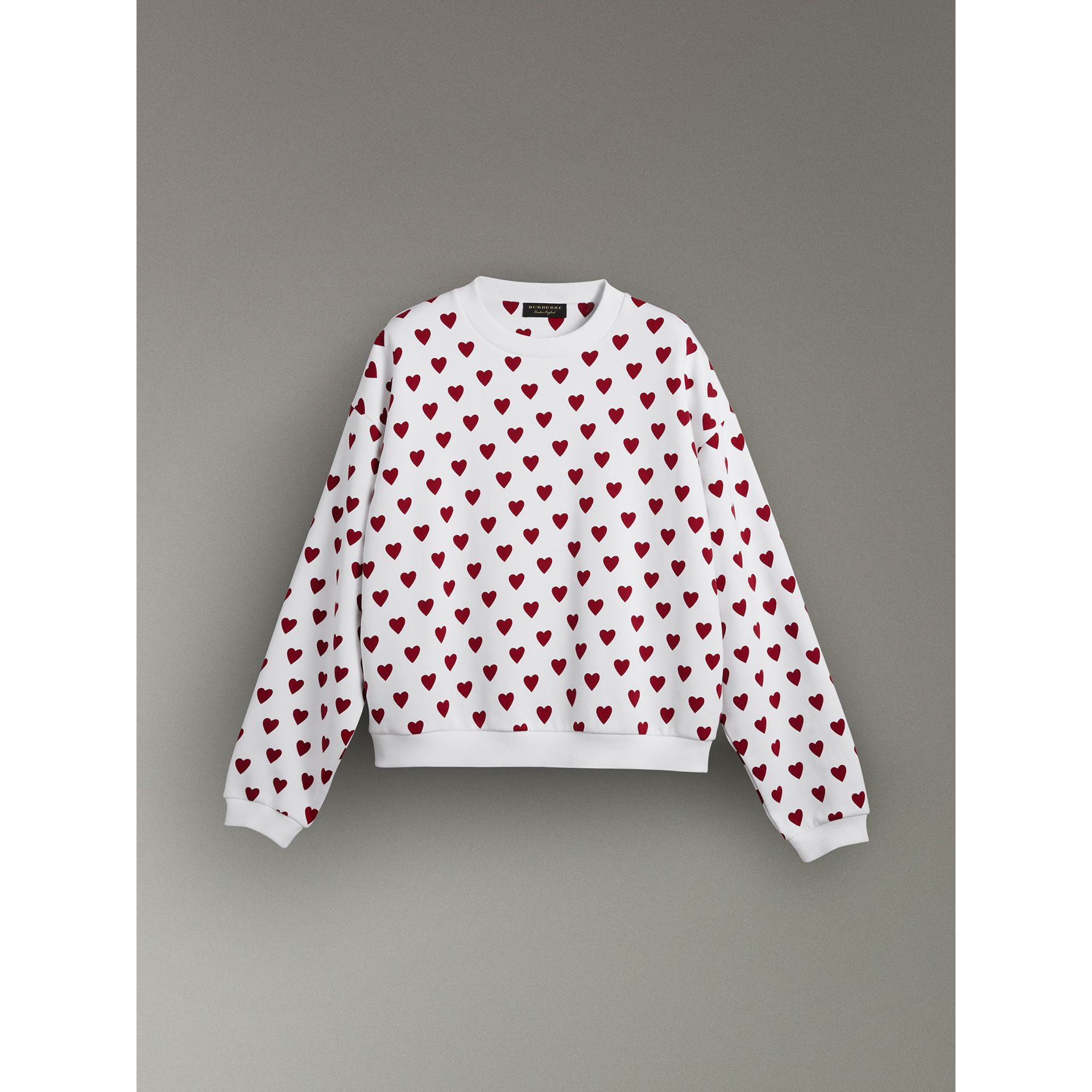 Heart Print Jersey Sweatshirt in Windsor Red | Burberry Canada - gallery image 3