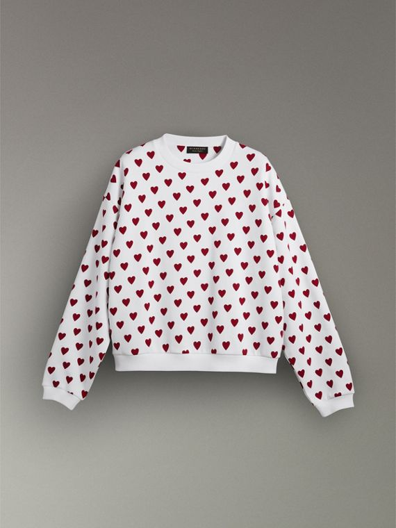 Heart Print Jersey Sweatshirt in Windsor Red | Burberry Canada - cell image 3