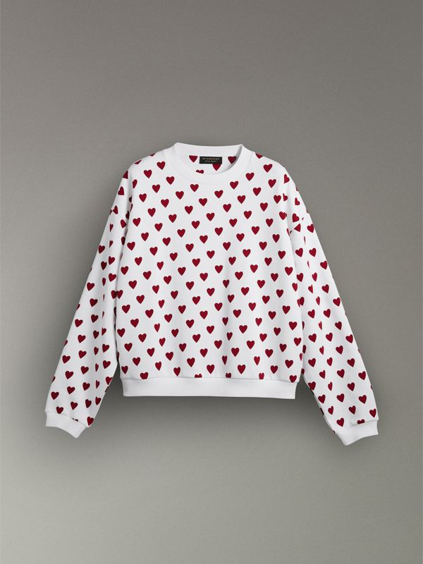 Heart Print Jersey Sweatshirt in Windsor Red | Burberry - cell image 3