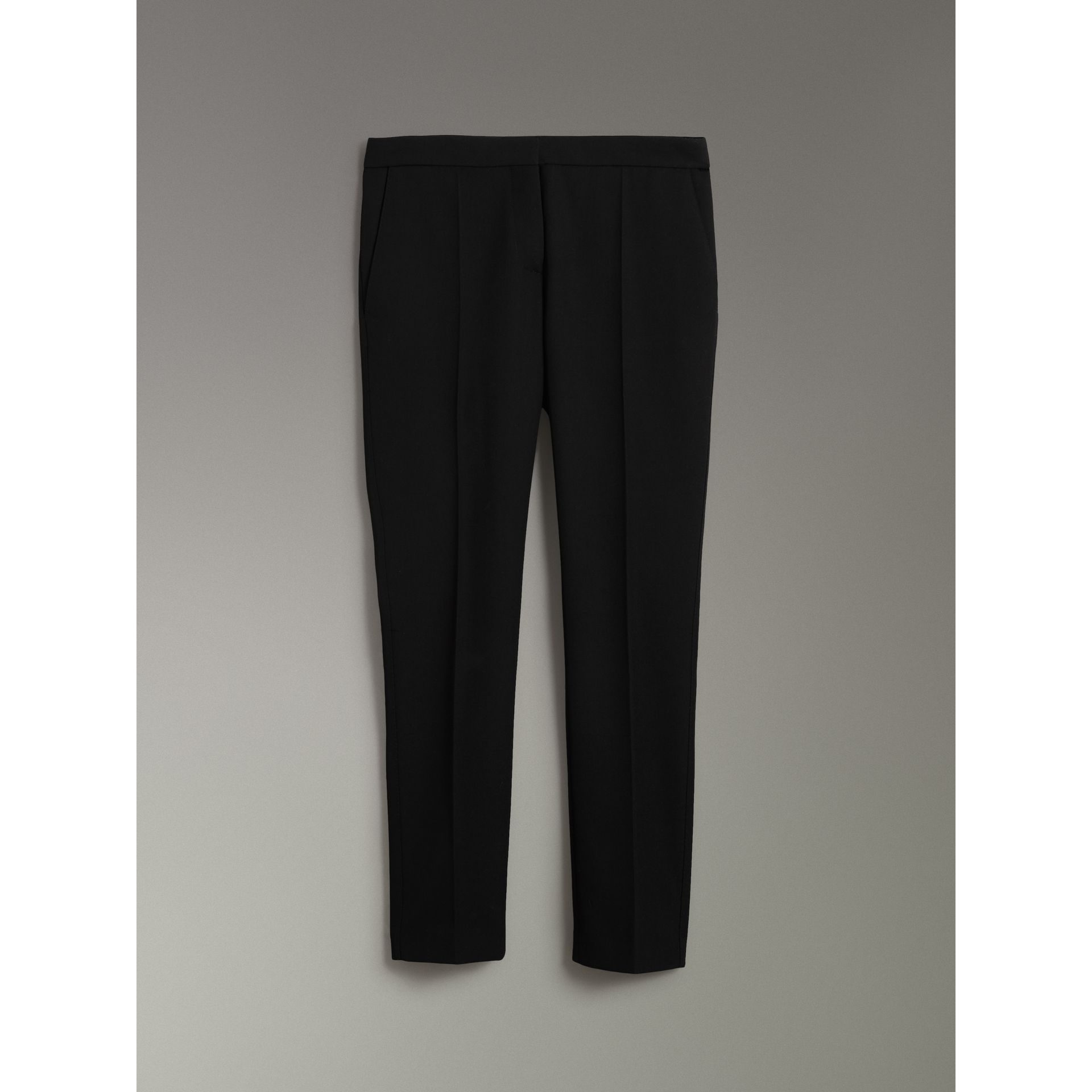 Straight Fit Wool Tailored Trousers in Black - Women | Burberry - gallery image 3