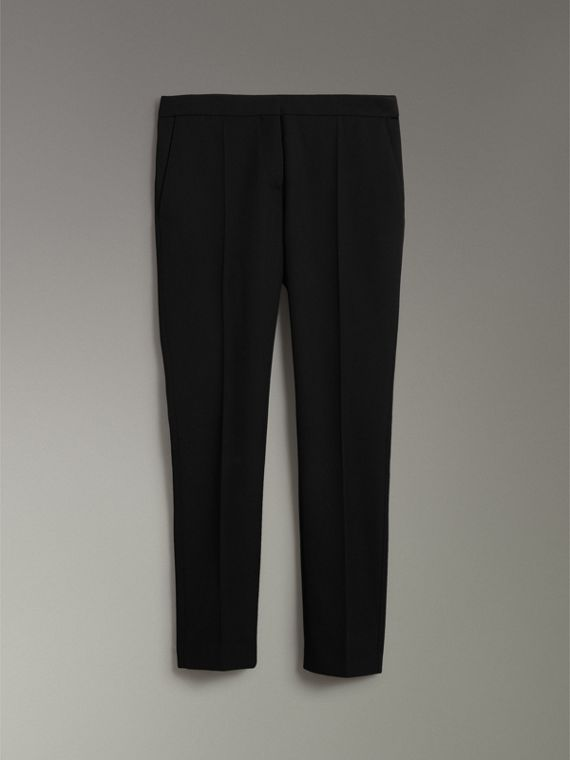 Straight-fit Wool Tailored Trousers in Black - Women | Burberry - cell image 3
