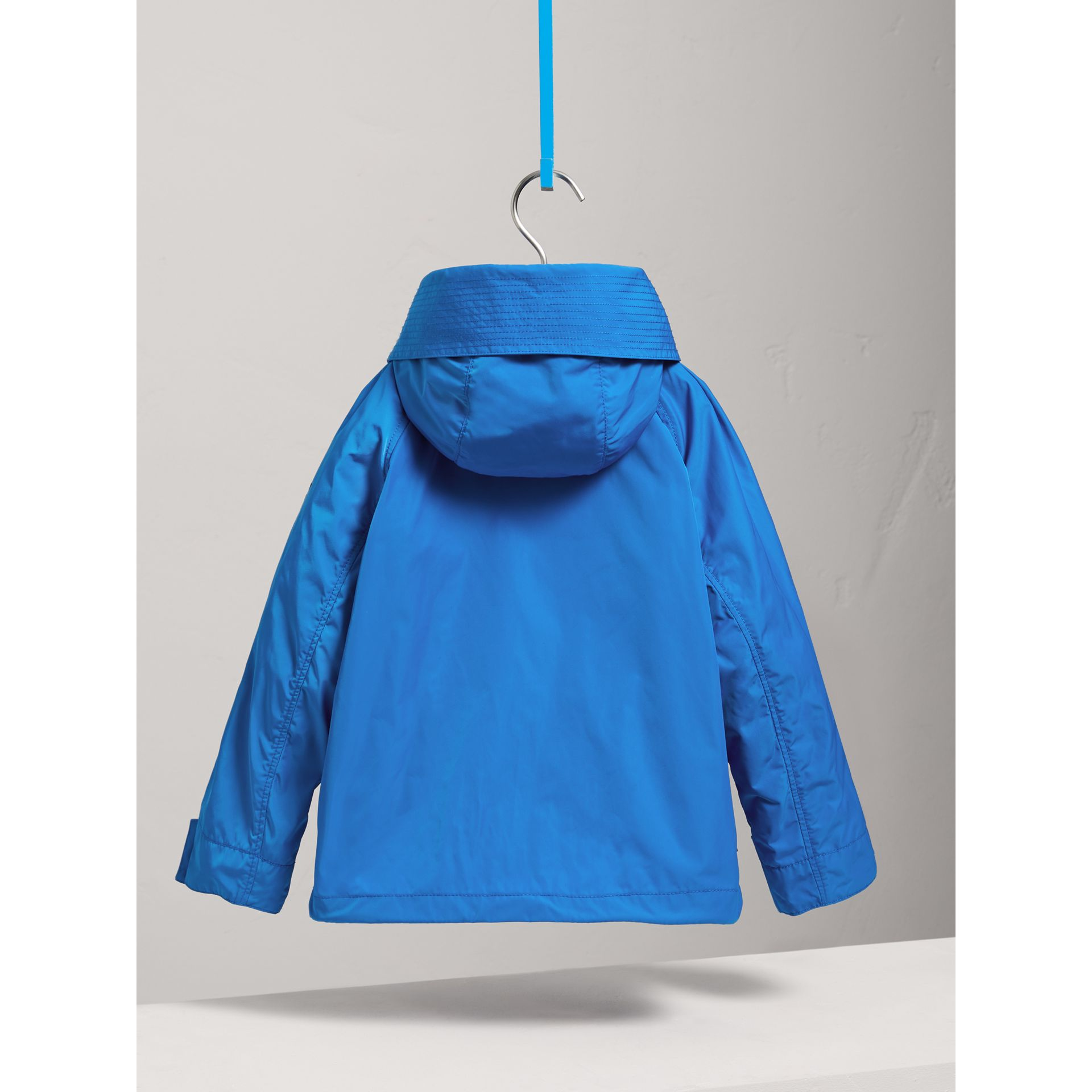 Hooded Shape-memory Taffeta Field Jacket in Azure Blue - Children | Burberry United Kingdom - gallery image 3