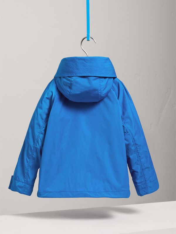 Hooded Shape-memory Taffeta Field Jacket in Azure Blue | Burberry - cell image 3