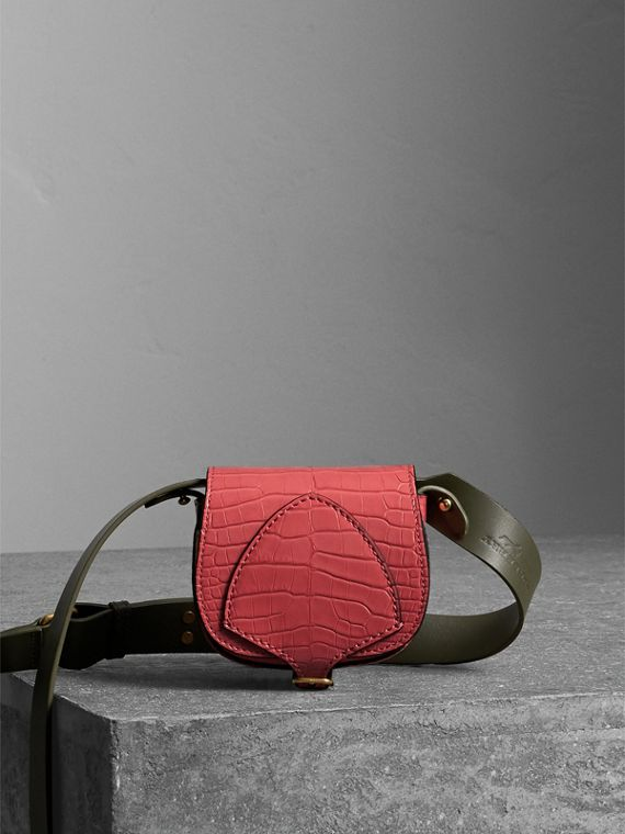 The Pocket Satchel in Alligator in Pink Azalea