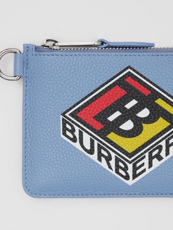 로고 그래픽 레더 지퍼 동전 케이스 (페일 블루벨) - 남성 | Burberry - cell image 1