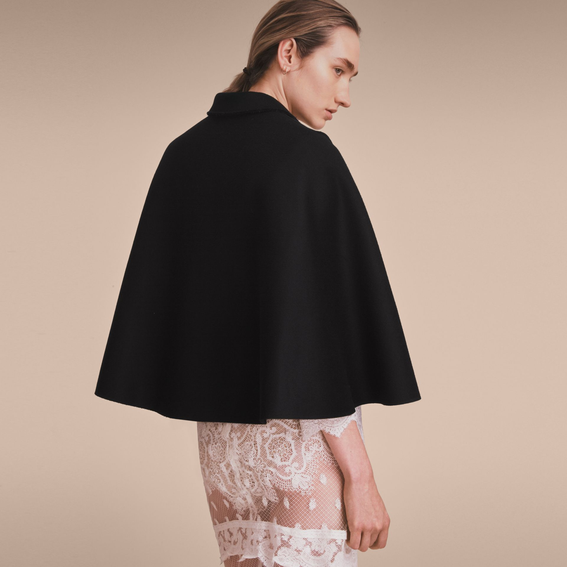 Double-faced Wool Cape Jacket in Black - Women | Burberry - gallery image 3