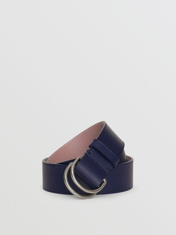 Leather Double D-ring Belt in Regency Blue/mauve