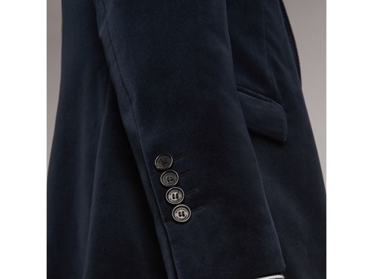 Soho Fit Velvet Tailored Jacket in Navy - Men | Burberry - cell image 4