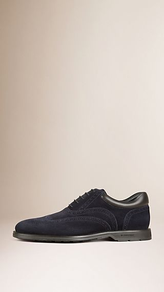 Cushion Detail Suede Wingtip Brogues