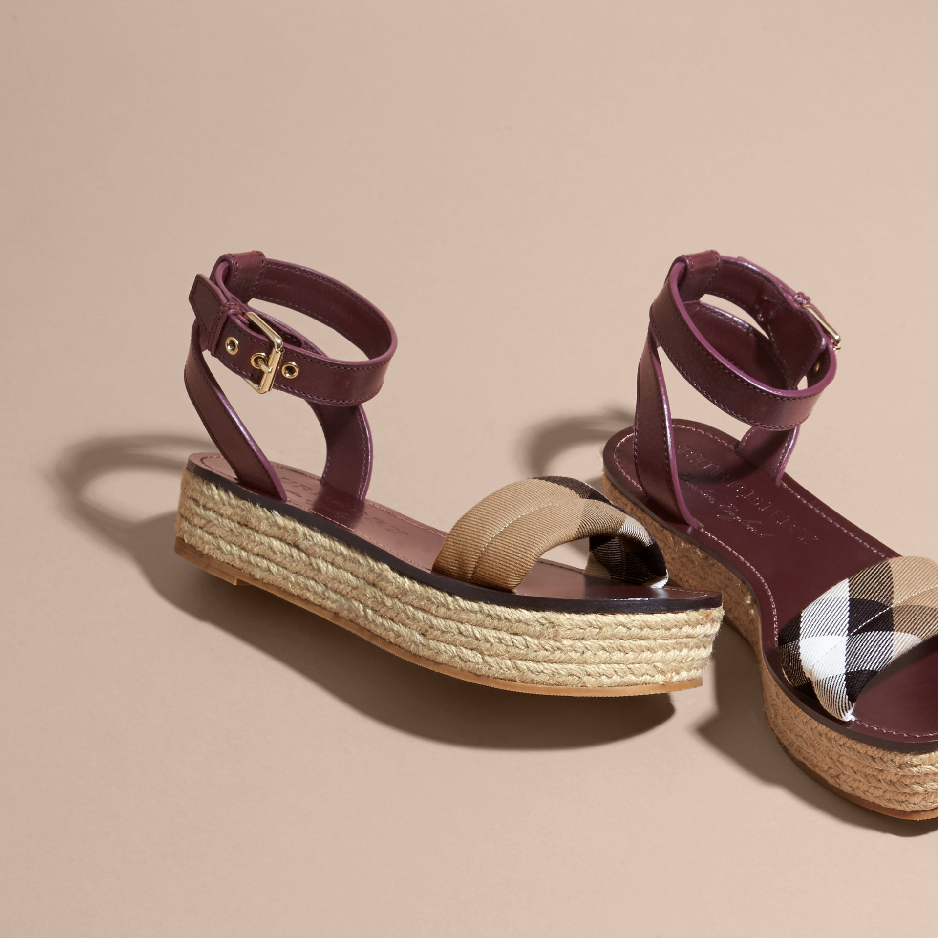 Leather and House Check Espadrille Platform Sandals Cerise Purple - gallery image 4