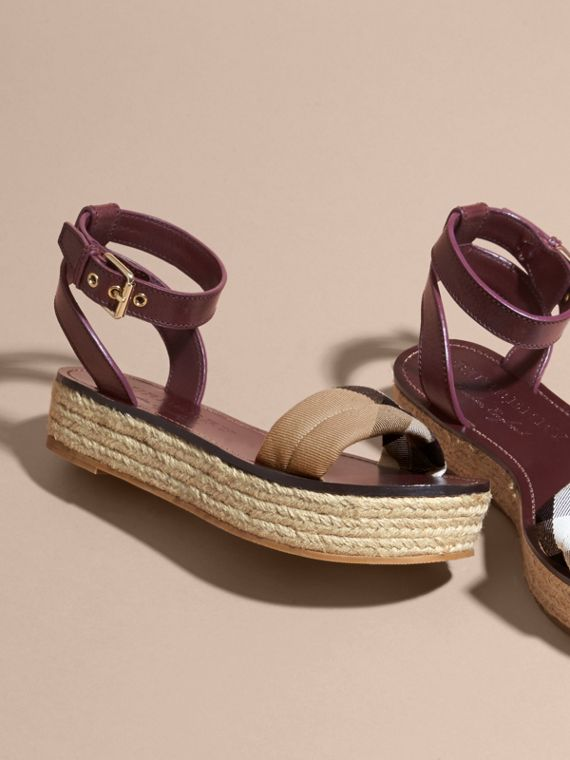 Leather and House Check Espadrille Platform Sandals Cerise Purple - cell image 3