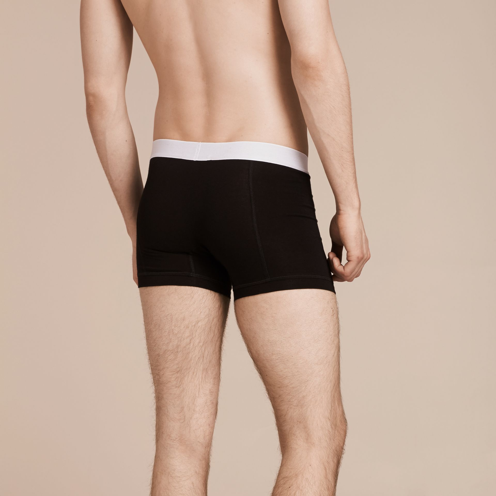 Black Stretch Cotton Boxer Shorts Black - gallery image 3