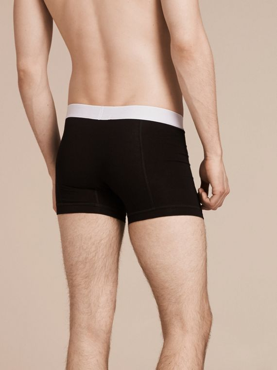 Stretch Cotton Boxer Shorts in Black - Men | Burberry - cell image 2