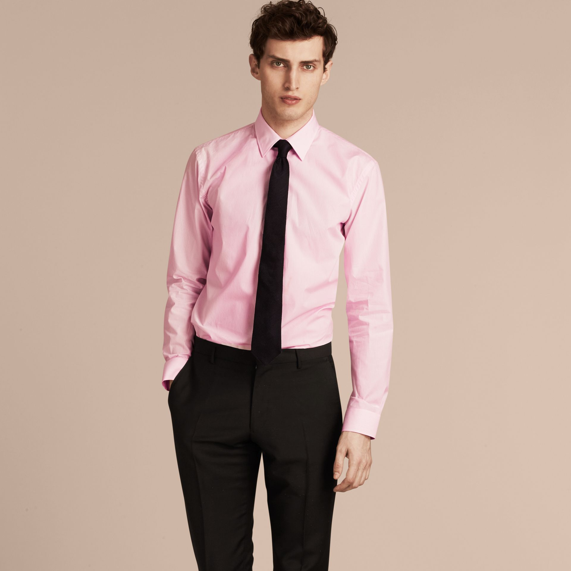 Modern Fit Striped Cotton Poplin Shirt in City Pink - gallery image 6