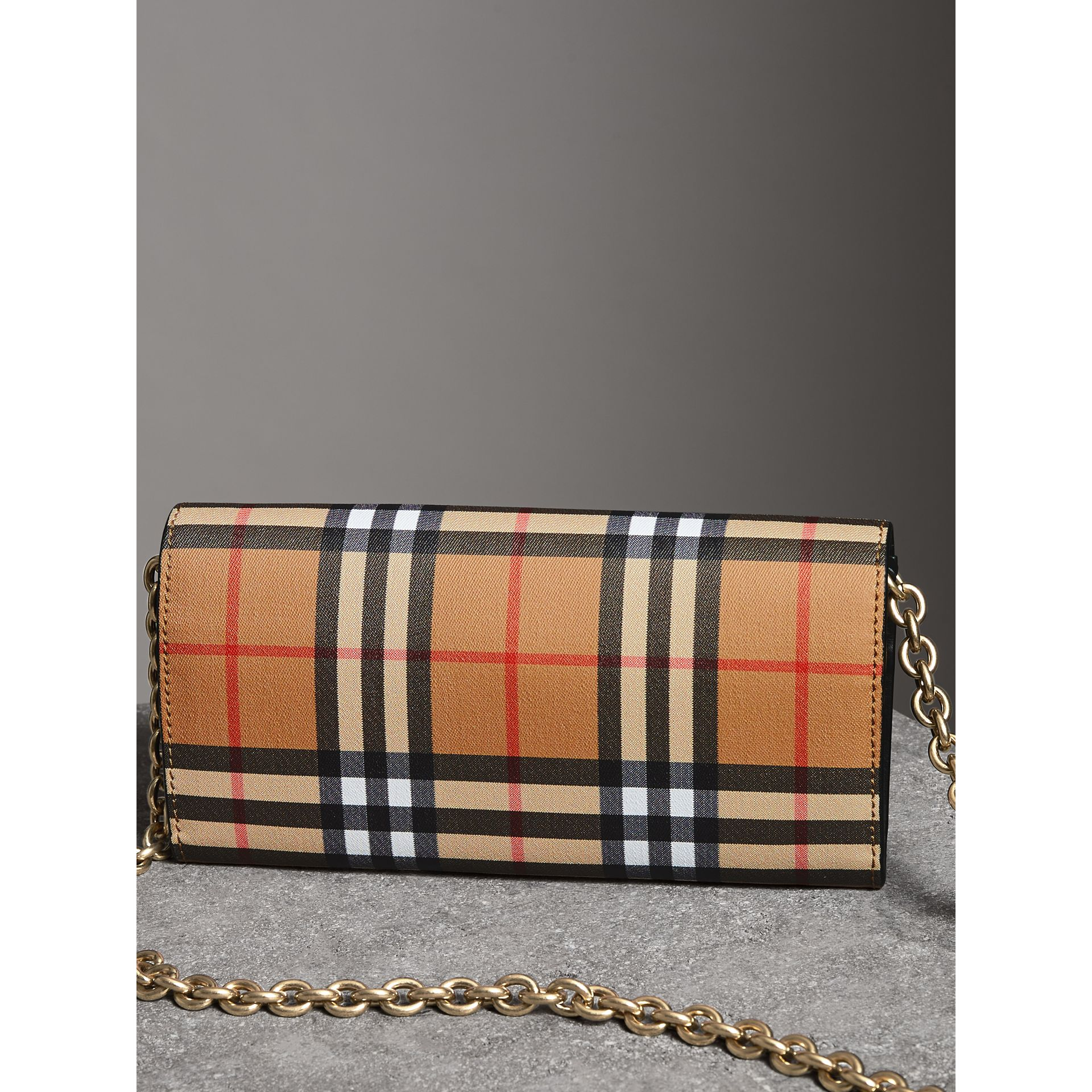 Vintage Check and Leather Wallet with Chain in Black - Women | Burberry United Kingdom - gallery image 4