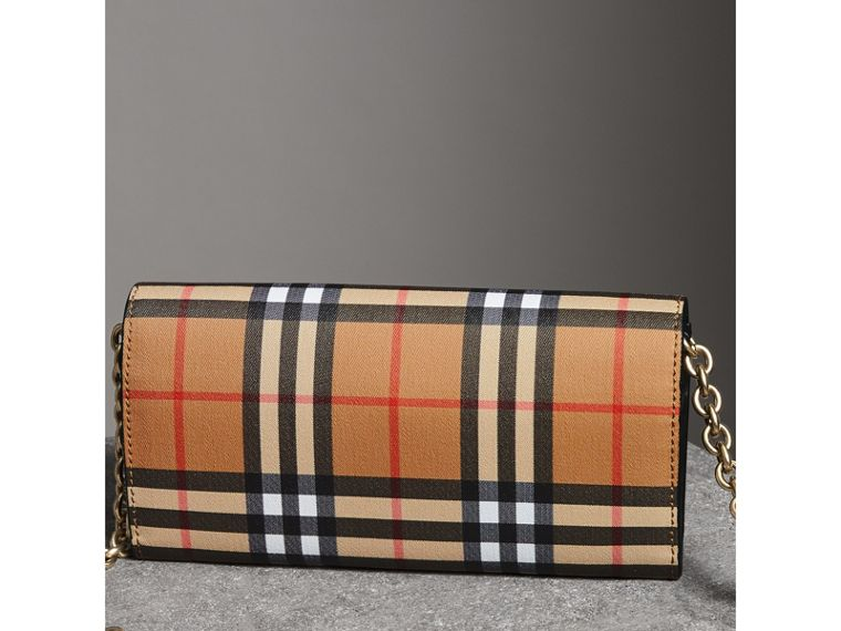Vintage Check and Leather Wallet with Chain in Black - Women | Burberry - cell image 4