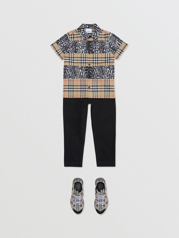 Short-sleeve Vintage Check and Leopard Print Shirt in Archive Beige | Burberry United Kingdom - cell image 2