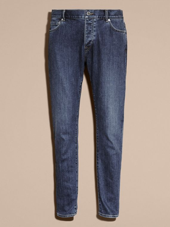 Relaxed Fit Japanese Stretch Denim Jeans - Men | Burberry - cell image 3