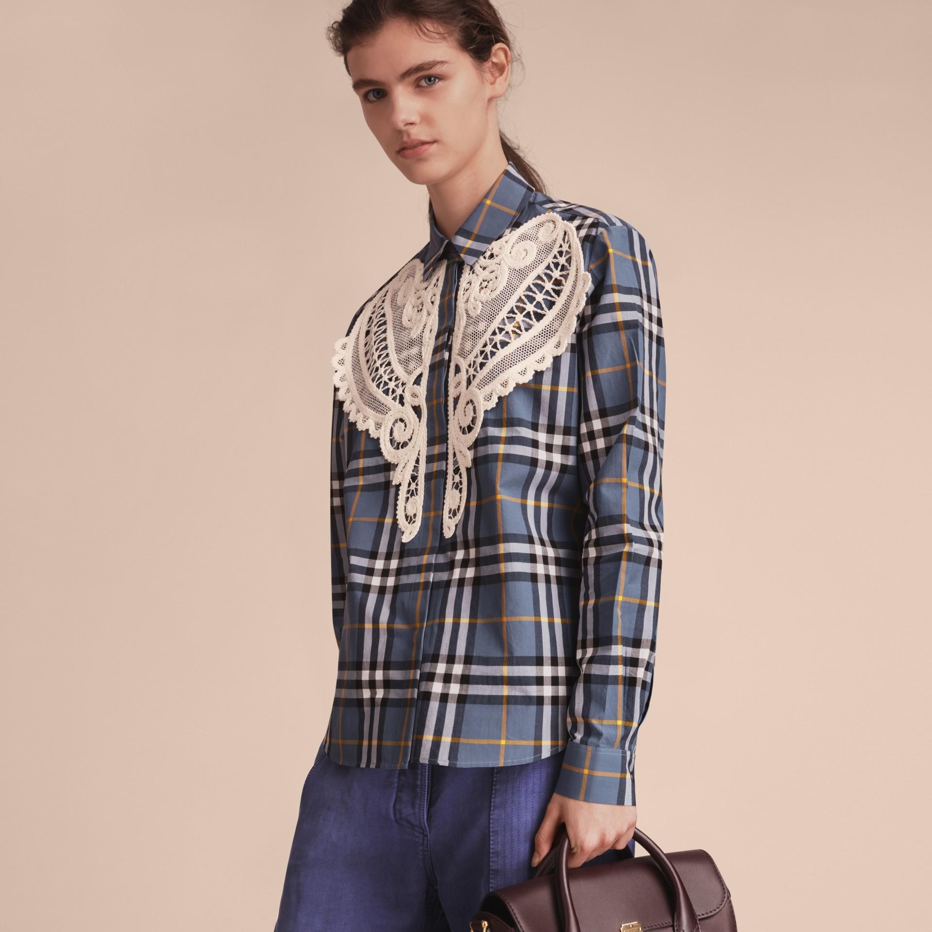 Lace Appliqué Check Cotton Shirt - gallery image 6