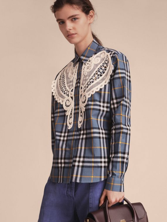 Check Cotton Shirt with Lace Appliqué