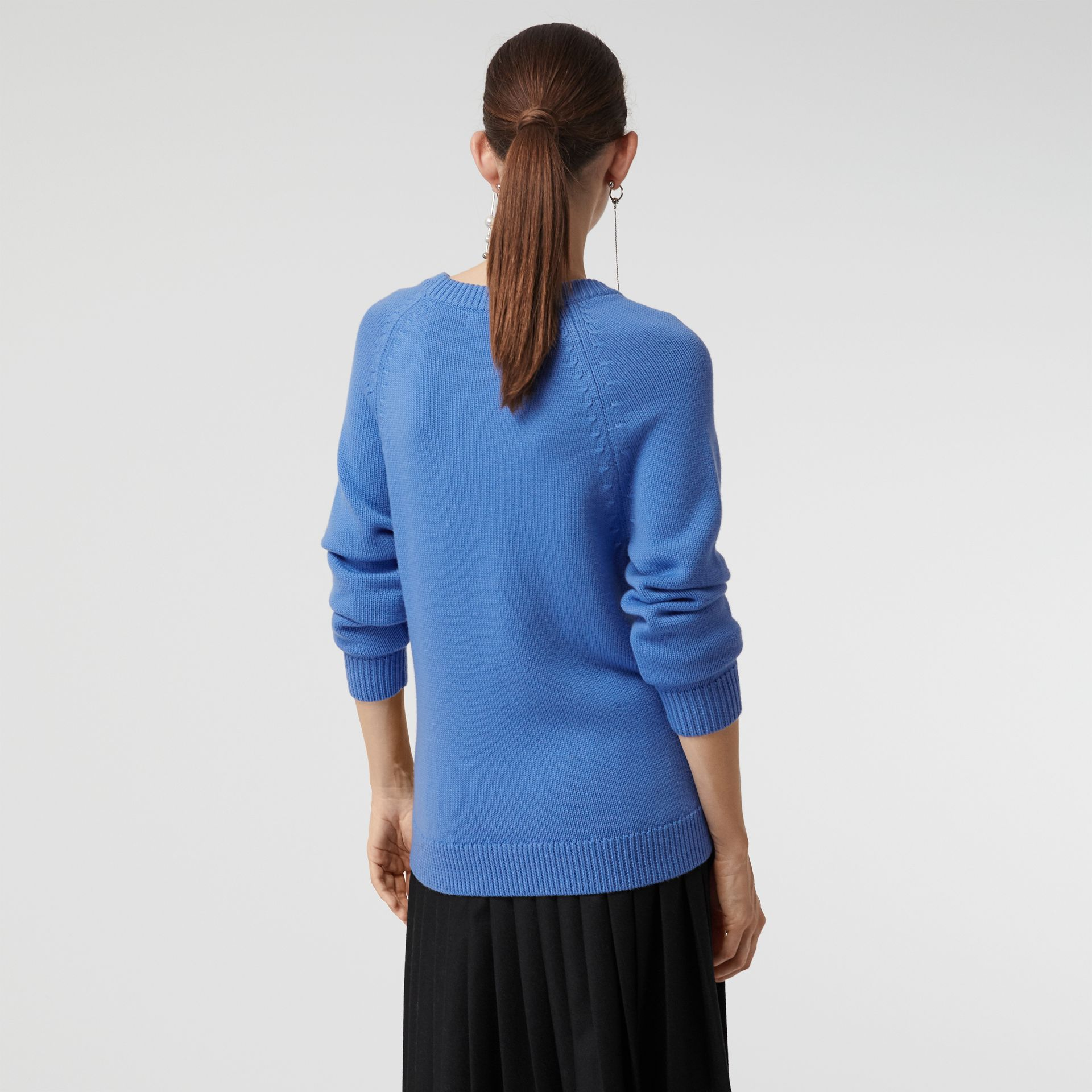 Check Wool Jacquard Sweater in Sky Blue - Women | Burberry United Kingdom - gallery image 2