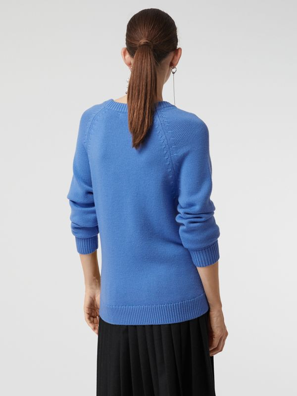 Check Wool Jacquard Sweater in Sky Blue - Women | Burberry - cell image 2