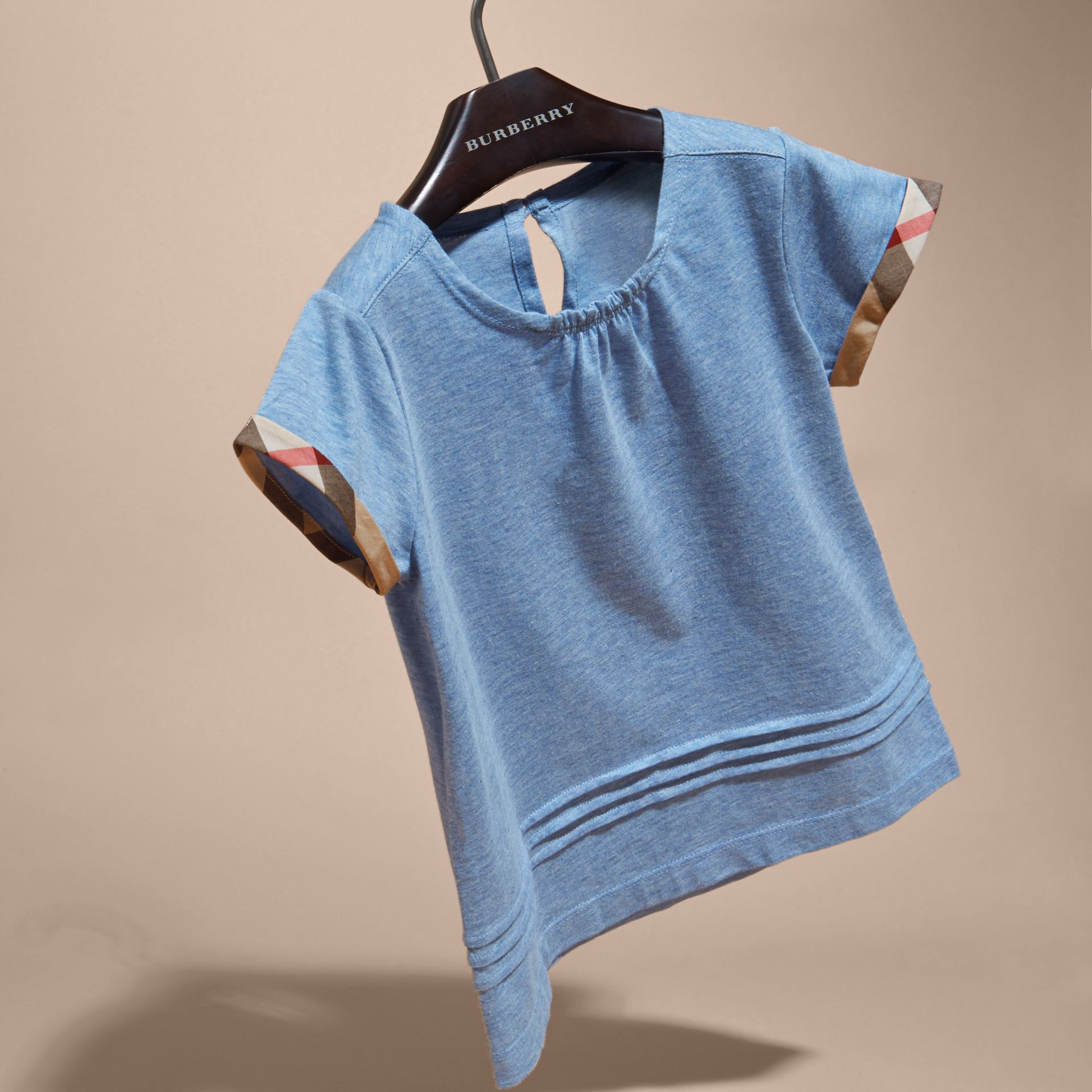 Pleat and Check Detail Cotton T-shirt in Light Blue Melange | Burberry - gallery image 3