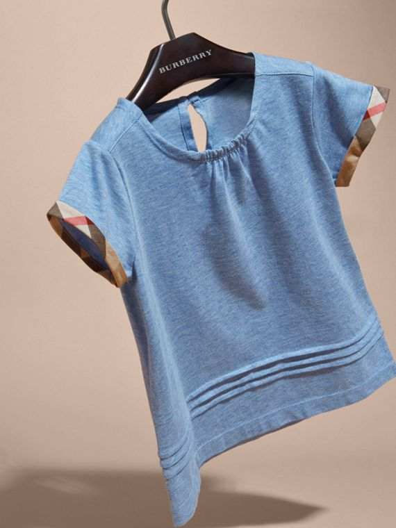 Pleat and Check Detail Cotton T-shirt in Light Blue Melange - Girl | Burberry - cell image 2