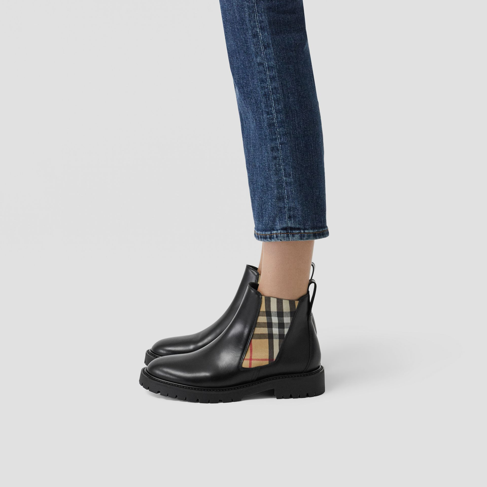 Vintage Check Detail Leather Chelsea Boots in Black - Women | Burberry Singapore - gallery image 2