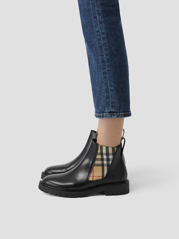Vintage Check Detail Leather Chelsea Boots in Black - Women | Burberry Singapore - cell image 2