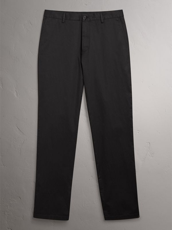 Cotton Twill Chinos in Black - Men | Burberry - cell image 3