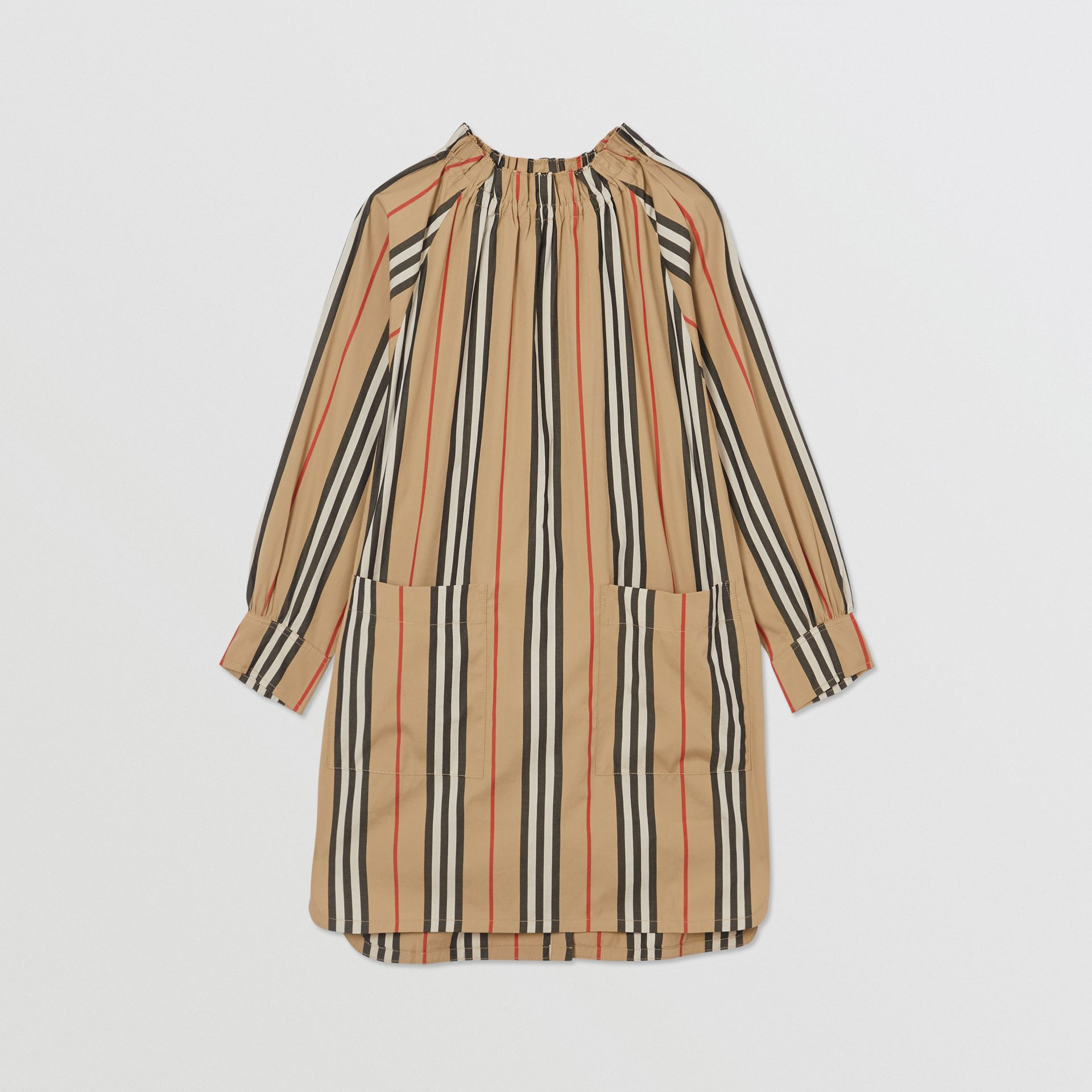 Icon Stripe Cotton Poplin Dress in Archive Beige | Burberry - gallery image 0
