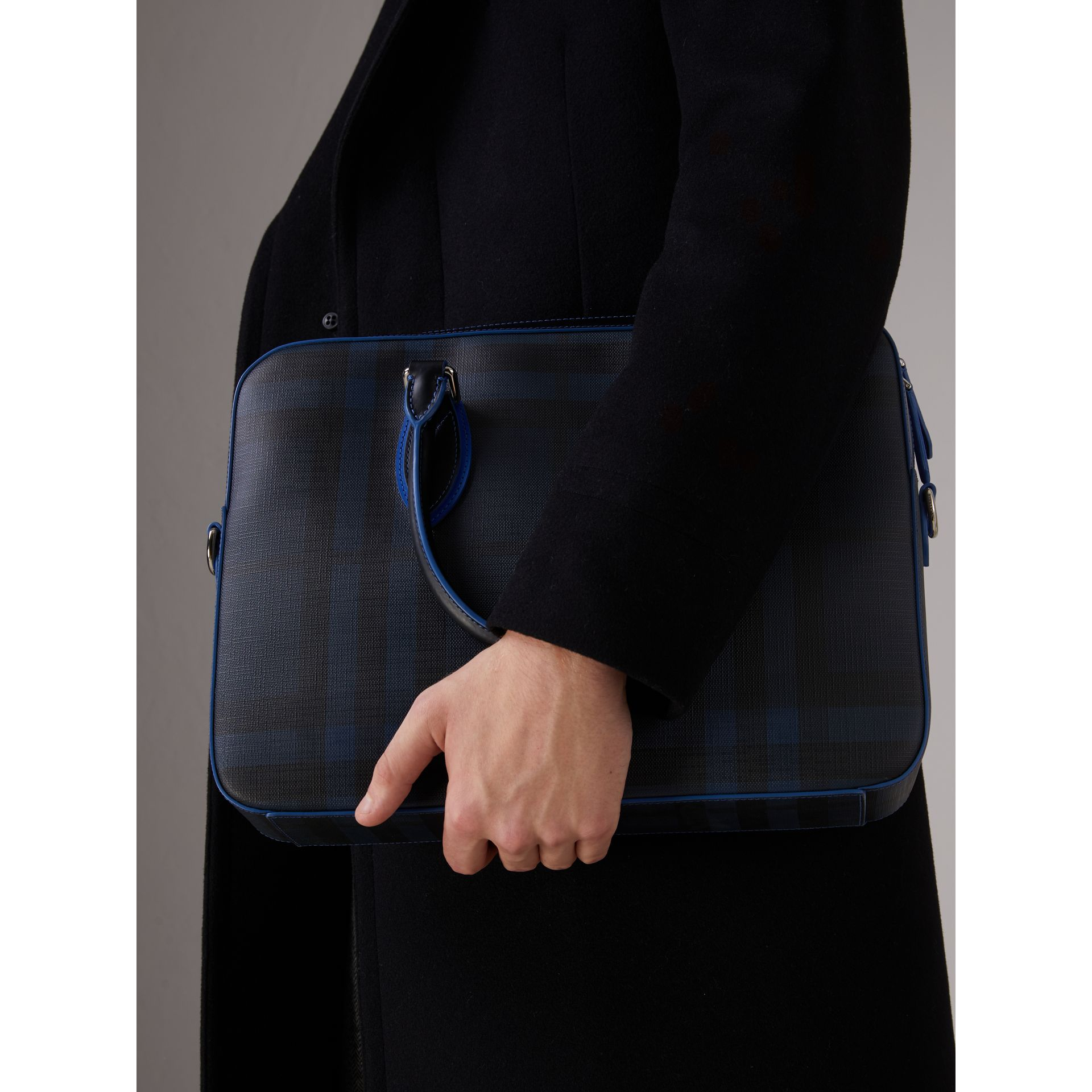 Medium Leather Trim London Check Briefcase in Navy/blue - Men | Burberry Hong Kong - gallery image 2