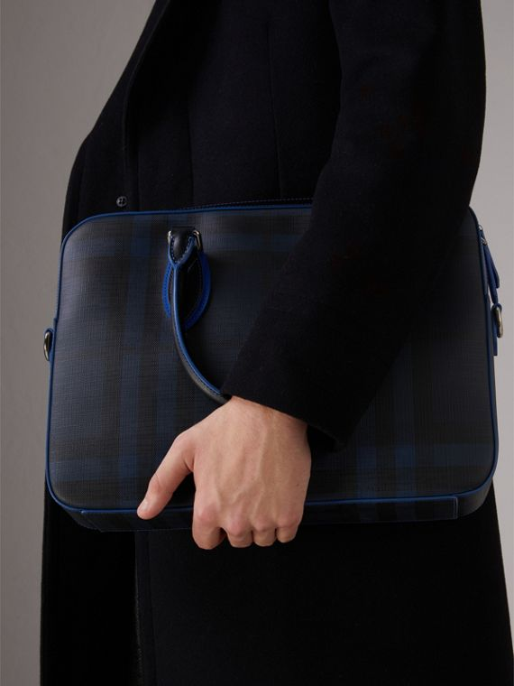 Medium Leather Trim London Check Briefcase in Navy/blue - Men | Burberry - cell image 2
