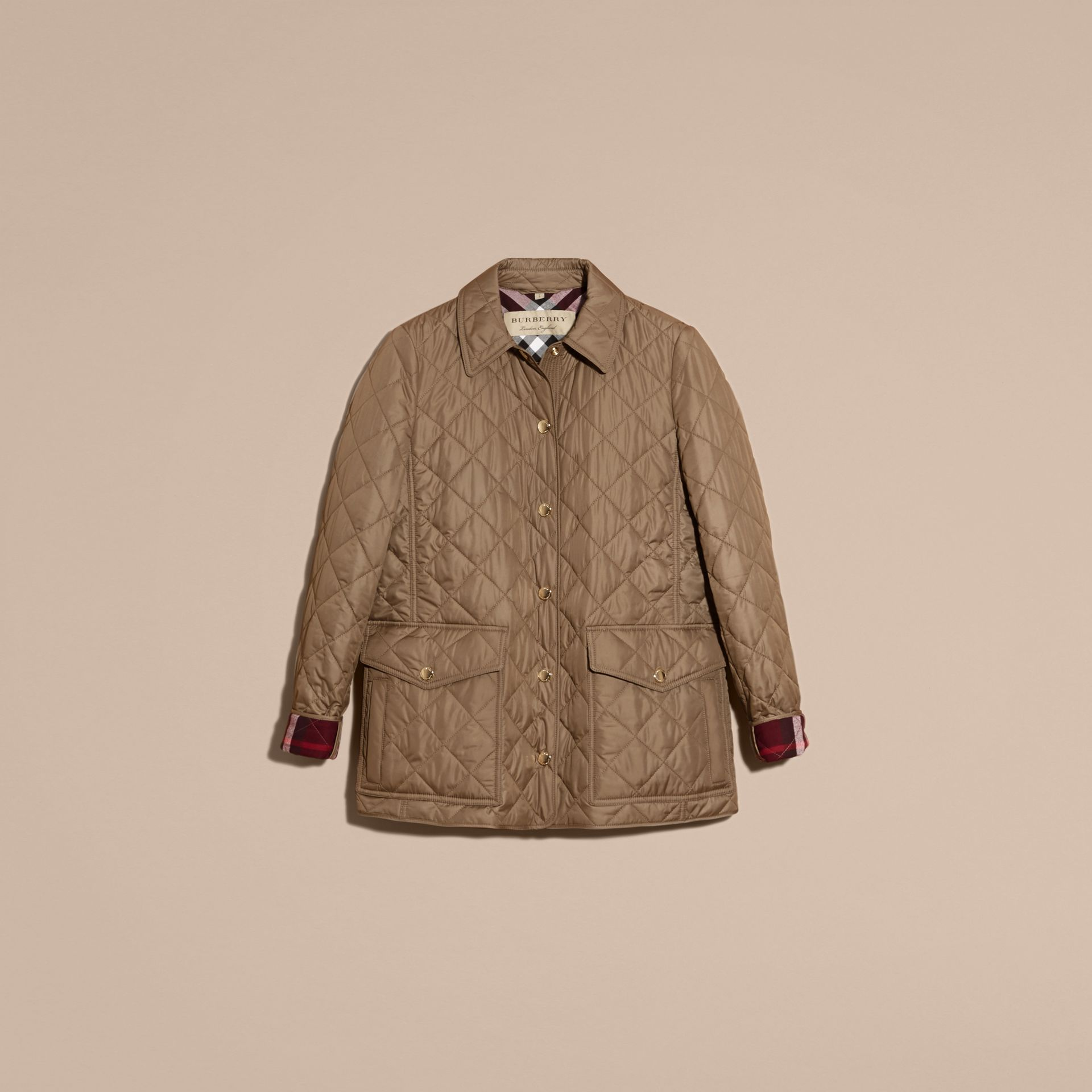 Mid taupe Check Lined Diamond Quilted Jacket Mid Taupe - gallery image 4