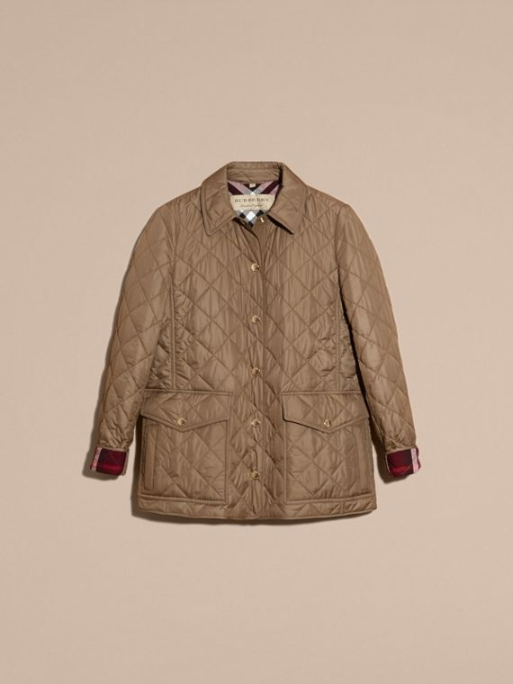 Mid taupe Check Lined Diamond Quilted Jacket Mid Taupe - cell image 3
