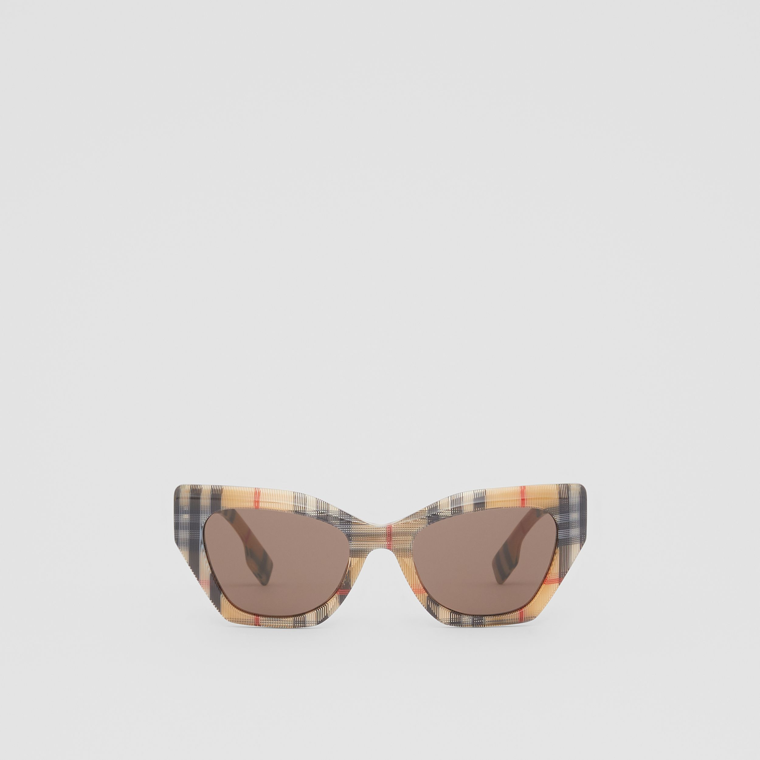 Vintage Check Butterfly Frame Sunglasses in Antique Yellow - Women | Burberry - 1