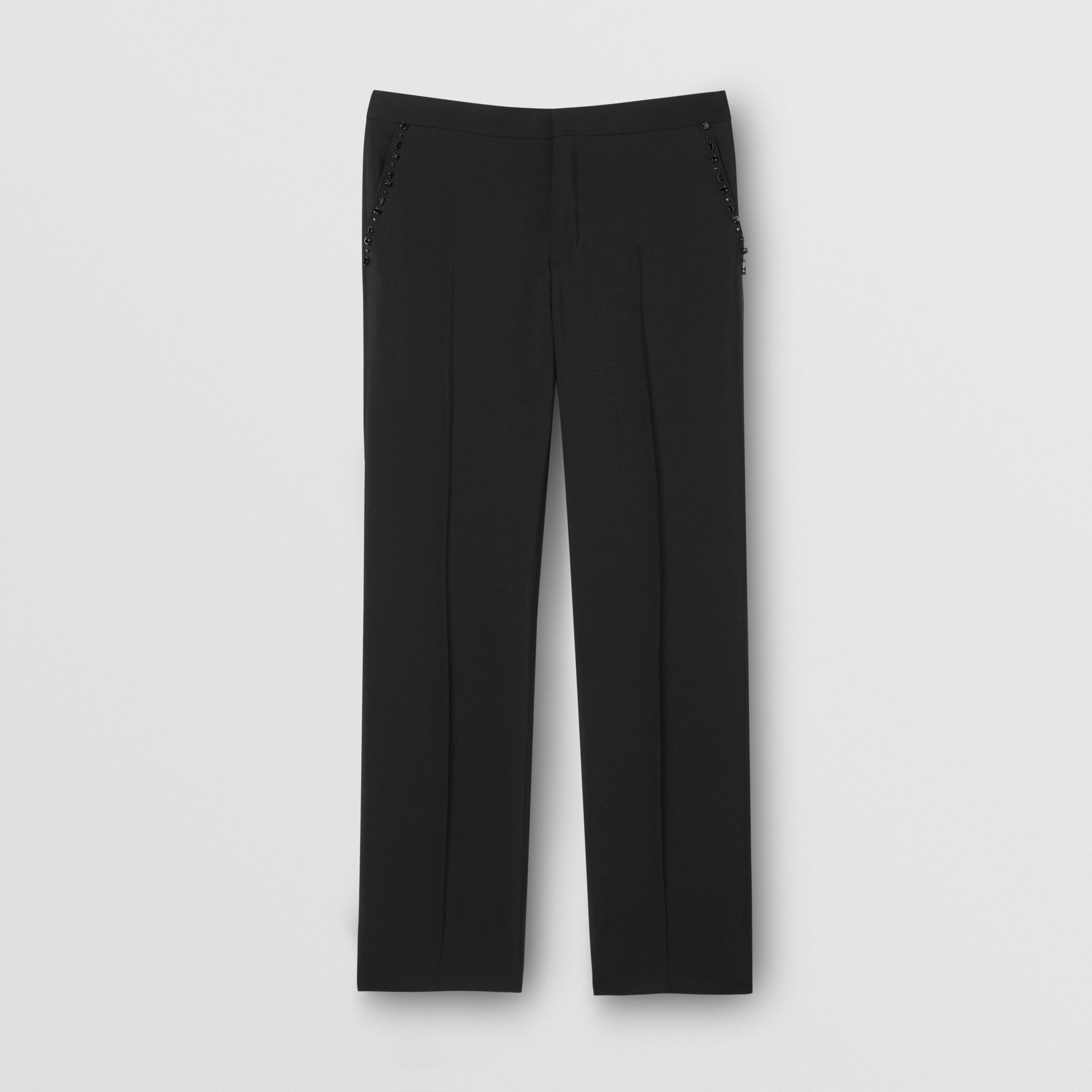 Classic Fit Embellished Mohair Wool Tailored Trousers in Black - Men | Burberry - 4