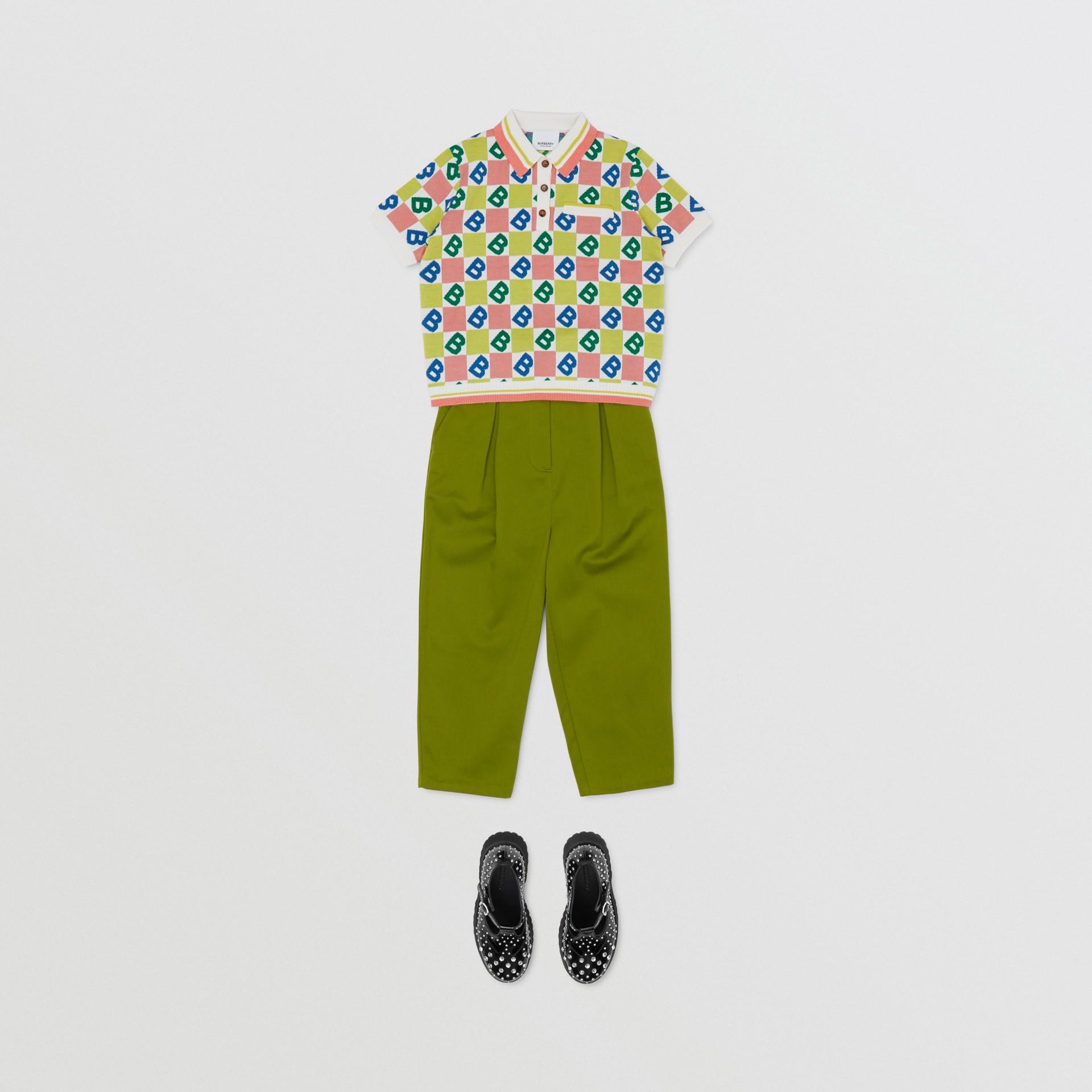 B Motif Merino Wool Cotton Cashmere Polo Shirt in Peach - Girl | Burberry United Kingdom - gallery image 2
