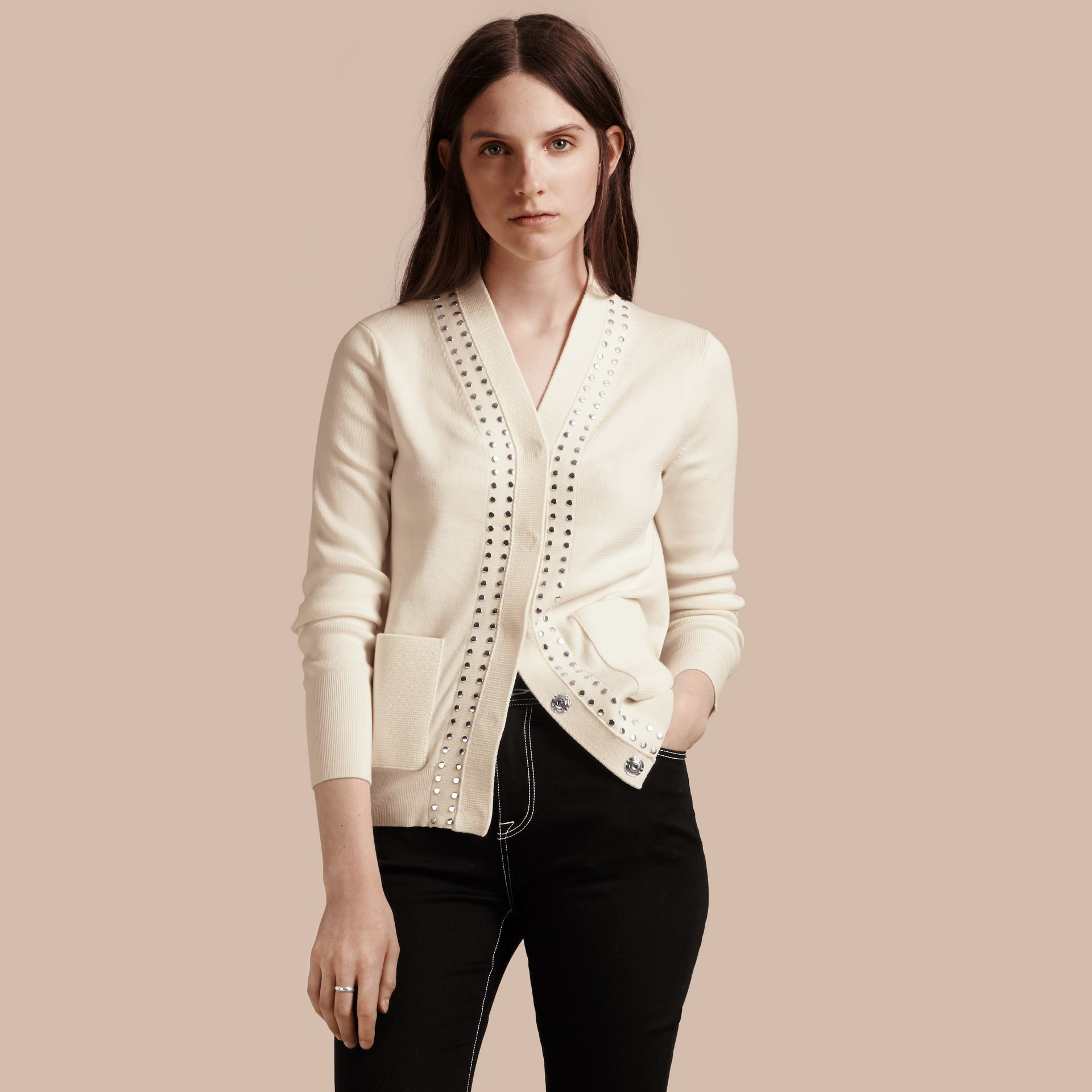 Natural white Cotton V-neck Cardigan with Studs - gallery image 1