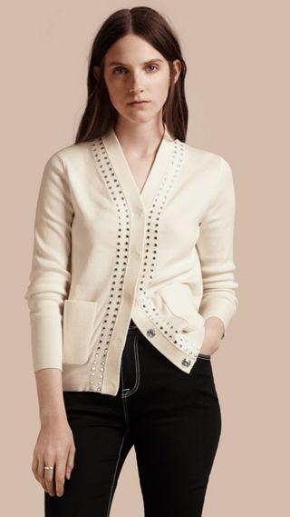 Cotton V-neck Cardigan with Studs